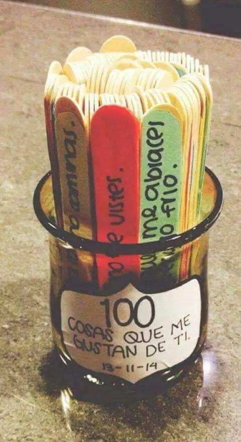 Bote cristal con 100 razones por la que te quiero ❤